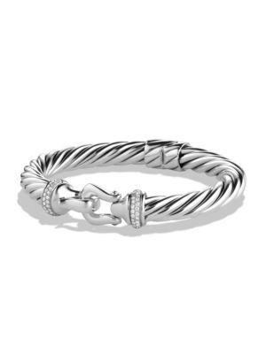 David Yurman Cable Buckle Bracelet With Diamonds In Silver