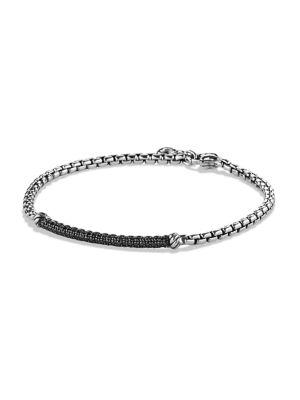 David Yurman Petite Pave Bar Metro Bracelet With Black Diamonds In Silver/Black