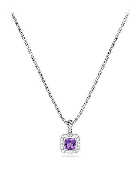 David Yurman Petite Albion Pendant With Amethyst And Diamonds On Chain