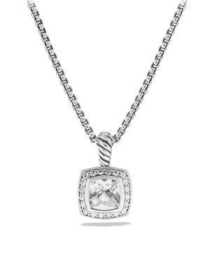 David Yurman Petite Albion Pendant Necklace With Diamonds In White Topaz