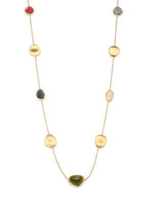 Marco Bicego Lunaria Multicolor Tourmaline & 18K Yellow Gold Station Necklace In Gold-Multi