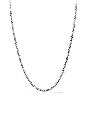 "David Yurman Small Box Chain Necklace With Gold/16"" In Silver"