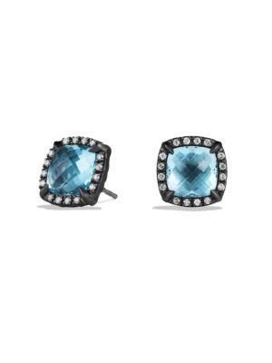 David Yurman ChÂTelaine Earrings With Diamonds In Blue Topaz