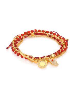 Astley Clarke Biography Hamsa In Safe Hands White Sapphire, Red Agate & Carnelian Silken Beaded Charm Bracelet In Gold-Red