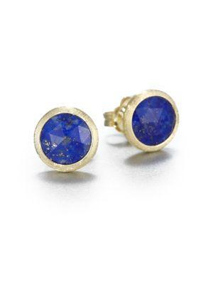 Marco Bicego Jaipur Resort Lapis & 18K Yellow Gold Stud Earrings In Blue-Gold