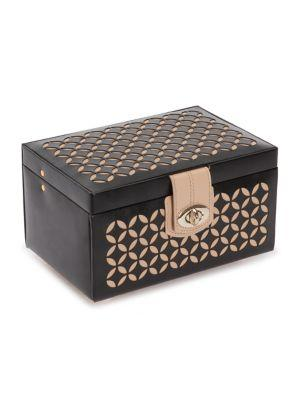 Wolf Chloe Small Leather Jewelry Box In Black