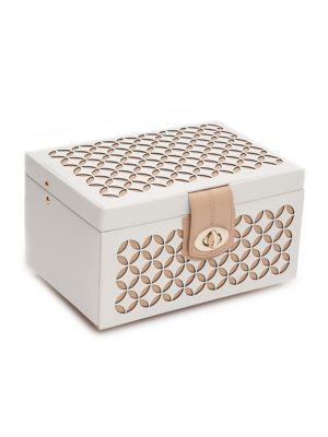 Wolf Chloe Small Leather Jewelry Box In Cream