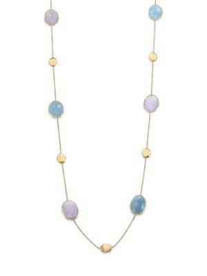 Marco Bicego Siviglia Aquamarine, Chalcedony & 18K Yellow Gold Station Necklace