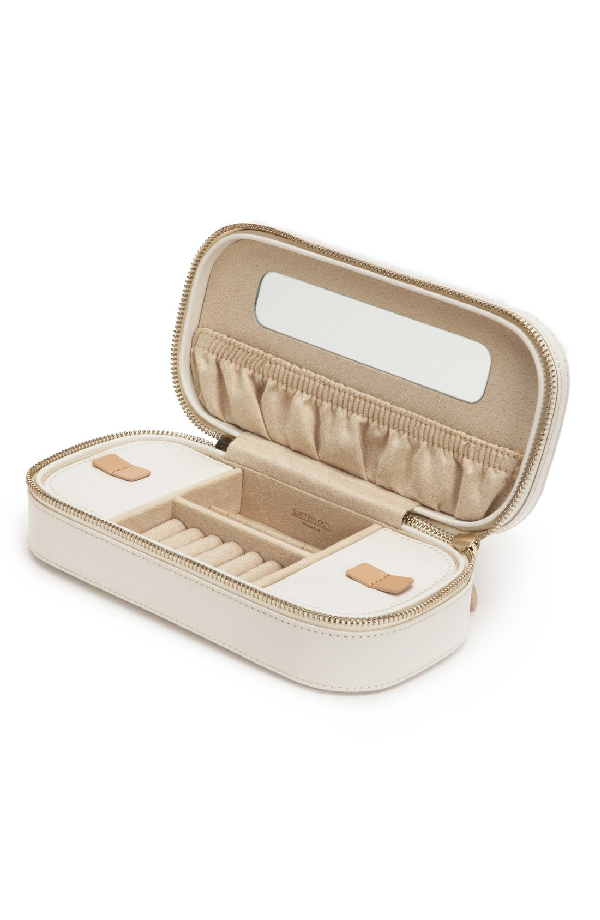 Wolf 'Chloe' Zip Jewelry Case - Ivory In Cream