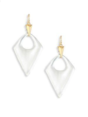 Alexis Bittar Pointed Pyramid Lucite Drop Earrings In White