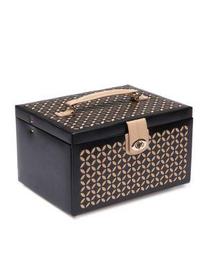 Wolf Chloe Medium Leather Jewelry Box In Black