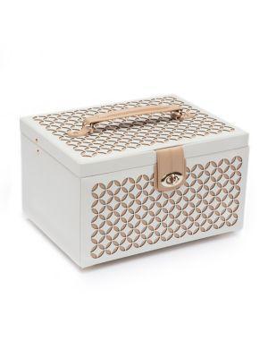 Wolf Chloe Medium Leather Jewelry Box In Cream