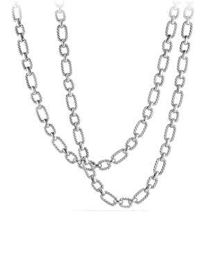 David Yurman Cushion Link Chain Necklace With 18K Gold In Silver