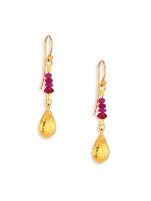Gurhan Delicate Rain Ruby & 24K Yellow Gold Drop Earrings In Gold-Ruby