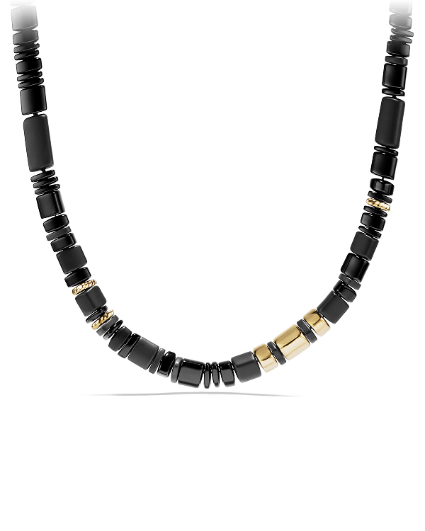 David Yurman Nevelson Bead Necklace With Black Onyx In 18K Gold In Black-Gold