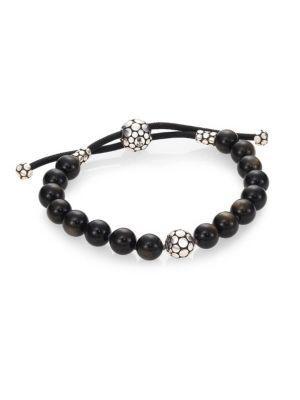 John Hardy Dot Golden Sheen Obsidian & Sterling Silver Bead Bracelet In Black