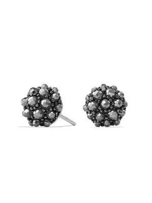 David Yurman Cable Berries Faceted Gemstone & Stainless Sterling Earrings In Hematine