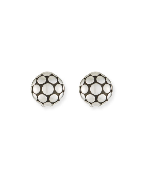 John Hardy Dot Sterling Silver Large Round Stud Earrings In Ss