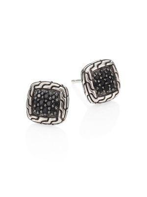 John Hardy Classic Chain Sterling Silver & Black Sapphire Lava Stud Earrings