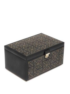 Wolf Marrakesh Large Leather Jewelry Box In Black