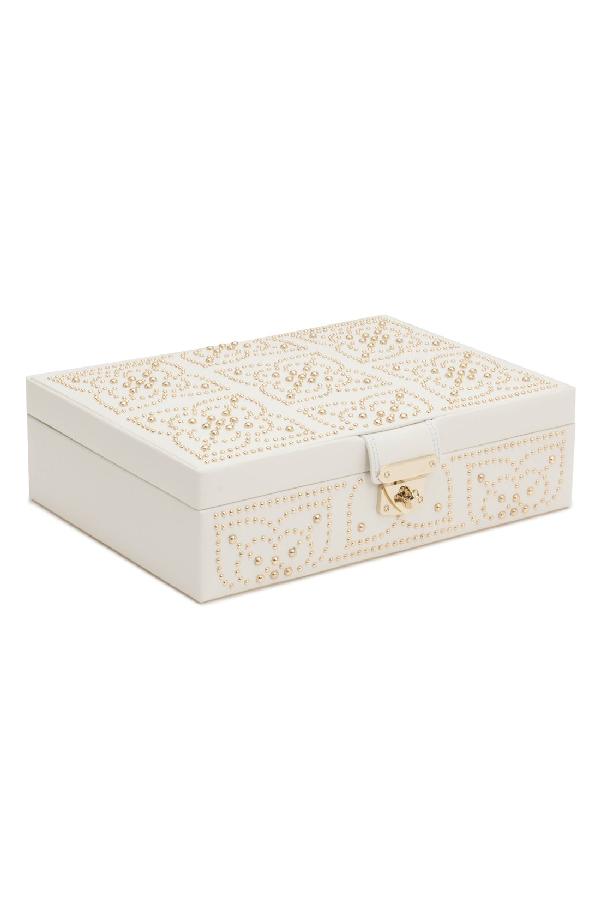 Wolf 'Marrakesh' Flat Jewelry Box - Ivory In Cream