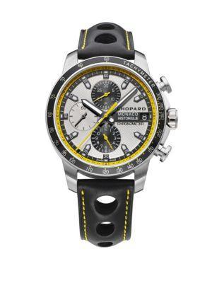 Chopard Grand Prix De Monaco Historique Chrono Titanium, Stainless Steel & Leather Strap Watch In Black