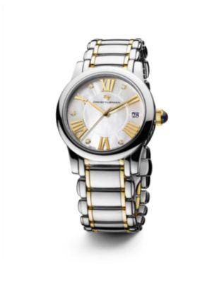 David Yurman Classic 34Mm Stainless Steel Quartz Watch With 18K Gold And Diamonds In Silver