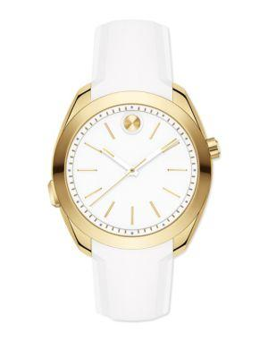 Movado Bold Motion Goldtone Stainless Steel & Silicone Strap Smartwatch In White