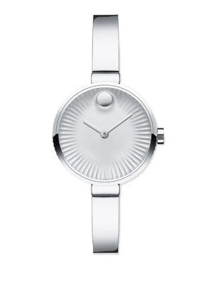 Movado Edge Stainless Steel Bracelet Watch In Silver