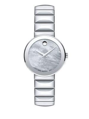 Movado Sapphire Stainless Steel Bracelet Watch In Silver