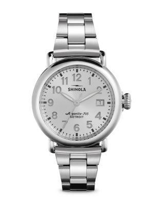 Shinola Runwell Stainless Steel Bracelet Watch In Silver
