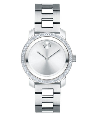 Movado Bold Diamond & Stainless Steel Bracelet Watch In Silver