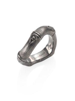 John Hardy Bamboo Brushed Blackened Sterling Silver Curved Band Ring In Rhodium