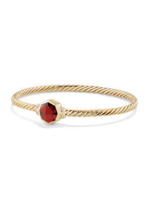 David Yurman Guilin Octagon Bracelet With Garnet And Diamonds In 18K Yellow Gold
