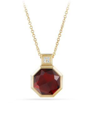 David Yurman Guilin Octagon Pendant Necklace With Garnet And Diamonds In 18K Gold