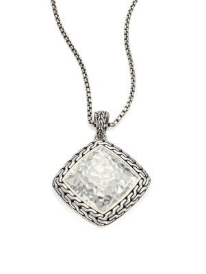 John Hardy Classic Chain Hammered Silver Heritage Large Quadrangle Pendant Necklace