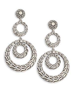 John Hardy Classic Chain Sterling Silver Long Drop Earrings