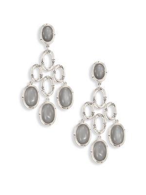 John Hardy Bamboo Grey Moonstone & Sterling Silver Chandelier Earrings