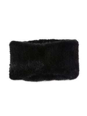 Surell Mink Headband/Collar In Black