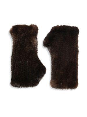 Surell Fingerless Mink Gloves In Brown