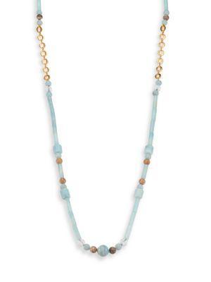 Stephanie Kantis Lavish Blue Amazonite, Fossil Coral & White Quartz Beaded Long Necklace In Blue Gold