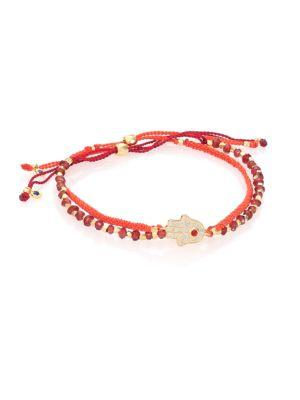 Astley Clarke Biography Seize The Moment White Sapphire & Garnet Silken Beaded Bracelet In Red-Gold