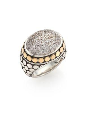John Hardy Dot Diamond, 18K Yellow Gold & Sterling Silver Dome Ring In Silver-Gold