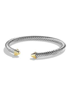 David Yurman Cable Classics Bracelet With Gold In Silver-Gold