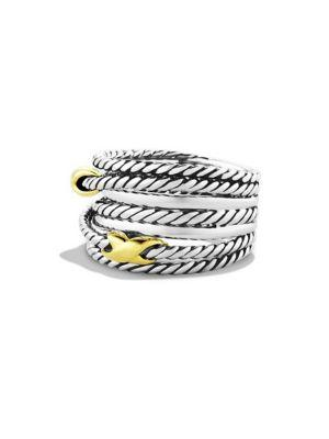 David Yurman Double X Crossover Ring With Gold In Silver-Gold
