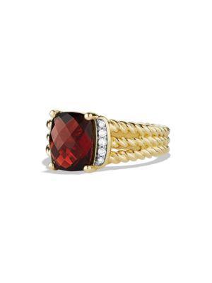 David Yurman Petite Wheaton Ring With Diamonds In Gold In Gold Garnet