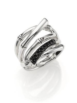 John Hardy Bamboo Black Sapphire & Sterling Silver Multi-Row Ring In Silver-Black