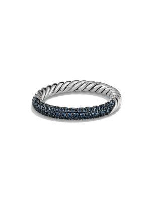 David Yurman Petite PavÉ Ring In Blue Sapphire