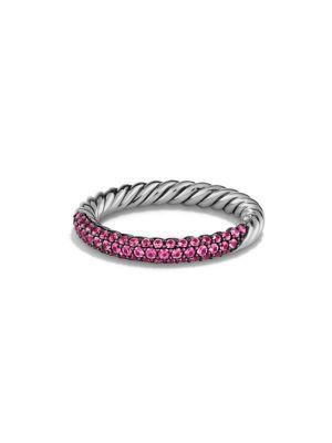 David Yurman Petite Pave Ring With Pink Sapphires
