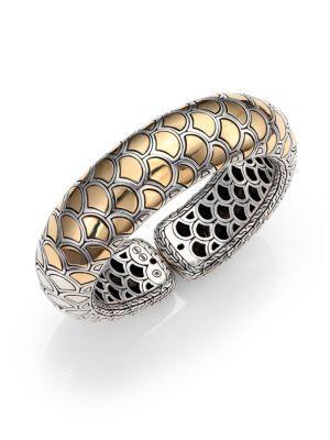 John Hardy Naga 18K Yellow Gold & Sterling Silver Bold Flex Cuff Bracelet In Gold-Silver